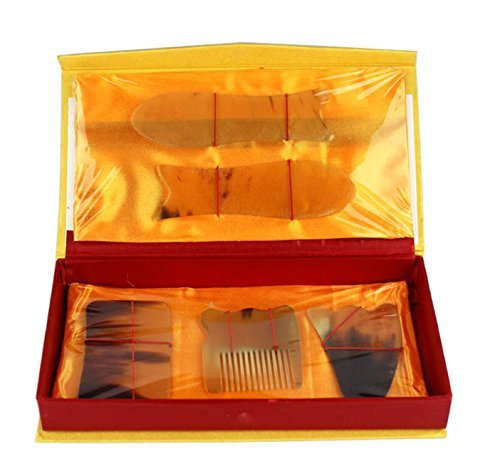 EQLEF® 5 Stück Naturhorn Verschrottung Platte Set Leg Abnehmen Comb Akupunktur-Massage-Gesundheit Relax (Fügen Sie 5 Stück)