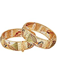 Aabhu Gold Plated Peacock Design Antique Bangle Kada Bracelet Set Jewellery For Women And Girl