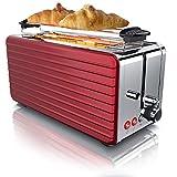 Arendo - Automatik Toaster Langschlitz 4 Scheiben | Defrost Funktion | wärmeisolierendes Gehäuse | Abnehmbarer Brötchenaufsatz | 1500W | herausziehbare Krümelschublade | Arendo DESAYUNO'