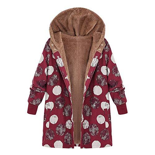 Wollmantel Damen Wolljacke Baumwollmantel Jacken Wintermantel Coat Light Casual Frauen Coat Wool Slim Cardigan Outdoorjacke Outwear Floral Mit Kapuze Taschen Vintage (Color : Rd1, Size : 4XL) Floral Wool Coat