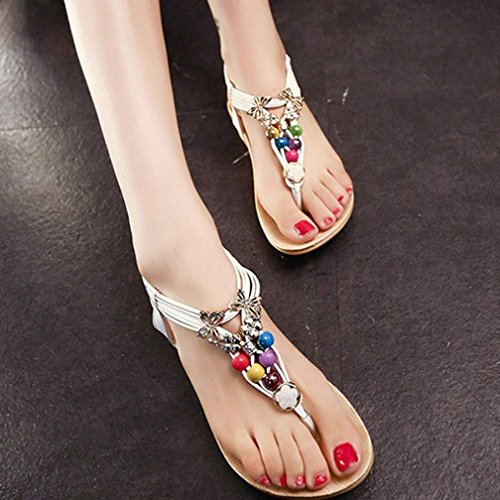Minetom Femmes Filles Sandales Bohémien Style Perlé Chaussures Clip Orteil Chaussons Été Blanc