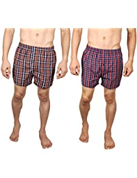 Neska Moda Men's Elasticated Cotton Multicolor Boxers With 1 Back Pocket - Pack Of 2 - B07762C3XX