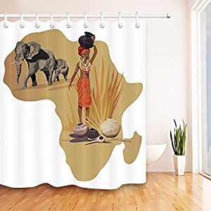 Cortina de ducha étnico afro,Mapa de África Mujer elefante macetas Decoración del cuarto de baño,sistema sano de la cortina de la tela del poliéster del agua del Anti-molde Resistente al agua,180x200cm