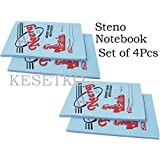 KESETKO Steno, Short Hand Writing Notebook Pads (4 Pcs) Size 18x12cm, Soft Cover