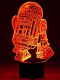 Originelle 3D LED-Lampe R2D2 Droide Tischlampe Wohnlicht mit Farbwechsel Show-Effekt