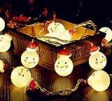ELINKUME 20 LEDs Weihnachten Schneemann Lichterkette für Partei Weihnachtsbaum Dekor 2.2 m/7.21 ft Warmweiß