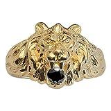 So Chic Joyas - Anillo Sello Hombre León Modelo Grande Circonita Negra Vermeil (Oro 750 sobre Plata...