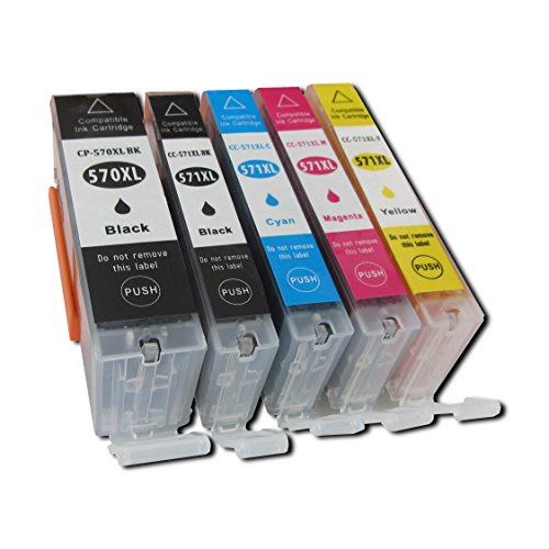 ESMOnline 5 komp. XL Druckerpatronen für Canon Pixma TS5050 TS5051 TS5053 TS5055 TS6050 TS6051 TS6052 TS8050 TS8051 TS8052 TS8053 TS9050 TS9055 1 x schwarz 1 x photoschwarz 1 x blau 1 x rot 1 x yellow