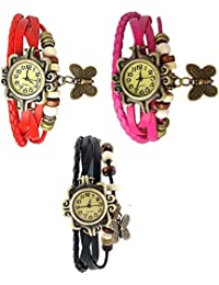 RTimes Red, Pink and Black Vintage Designer Leather Set of 3 Multicolor Bracelet Butterfly Watch for Girls, Women