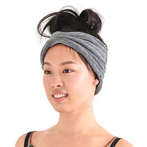 Charm Casualbox Stricken Stirnband Mit Bio Baumwolle Turban Mode Haar Band Herren Damen Gemacht In Japan Grau (Männer Mit Turban Stirnband)