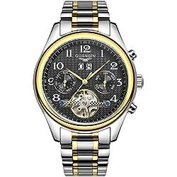 GUANQIN Tourbillon Watches Classic Sapphire Waterproof Watch Men Automatic Mechanical Wind Up Wristwatch Gold Black