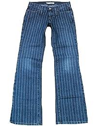 Fornarina Damen Jeans Blau Toy Denim Coole Nadelstreifen Streifen Rock Star Designer Bootcut Hose