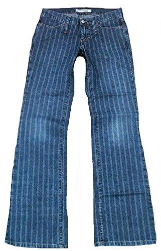 Fornarina Damen Jeans Blau Toy Denim Coole Nadelstreifen Streifen Rock Star Designer Bootcut Hose 27/34 W27 L34