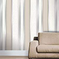 Taupe / Silver Glitter - M0784 - Synergy - Stripe - Vymura Wallpaper by Vymura from Vymura