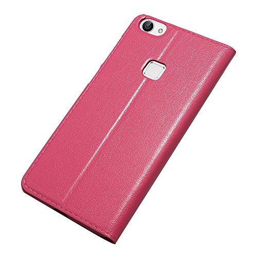 X6 Hülle,EVERGREENBUYING - Flip Case Etui Handyhülle Für X 6 mit Sichtfenster - Aufklappbare Echtes Leder Schutzhülle im Flip Cover Style für Vivo X6 Schwarz Rosa