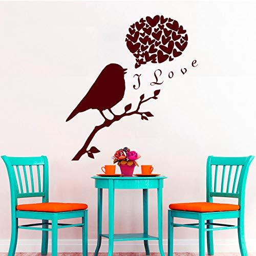 jiushizq Carino Uccello sul Ramo di Un Albero con I Love Quote Stickers murali e Adesivi murali Cuore per la Decorazione Domestica di Arte Carta da Parati in Vinile Y Pinks 65x59cm