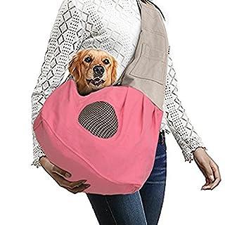 AntEuro Shoulder Carry Handbag for Pets, Portable Hands-free Pet Foldable Travel Carrier Bag,Sling Shoulder Bag Carry Bag with Extra Pocket for Small Dog Cat Rabbit Guinea(Pink)