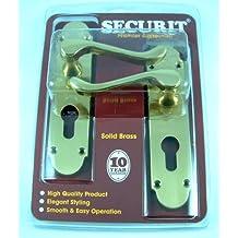 Securit - Cerradura de la puerta de bronce del euro sólido asas para puertas de pvc.