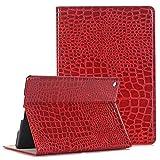 TechCode iPad Air Hülle Case, Luxus Krokodil Haut Muster PU Leder Bookstyle Folio Case Cover Stand mit Smart Case Geldbörse Ledertasche Hülle Case Schutzhülle Etui für Apple iPad air 9.7 Inches (Rot)
