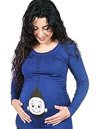 Highdas Maternidad Caucásicos Mirando a Bebé Camiseta de Manga Larga Cute Funny Pregnancy Top