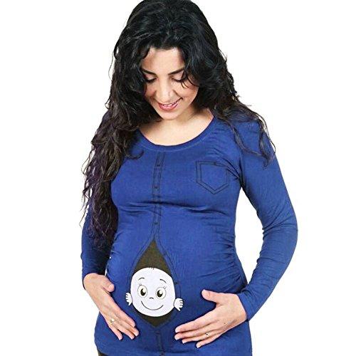 Highdas Mutterschaft Frauen kaukasisch Spähen Baby Langarm T-Shirt Niedlich Lustige Schwangerschaft Top (T-shirt Mutterschaft Top)