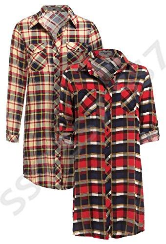 SS7 nouvelles femmes Chemise À Carreaux Robe, Tailles 8 - 14 Crème