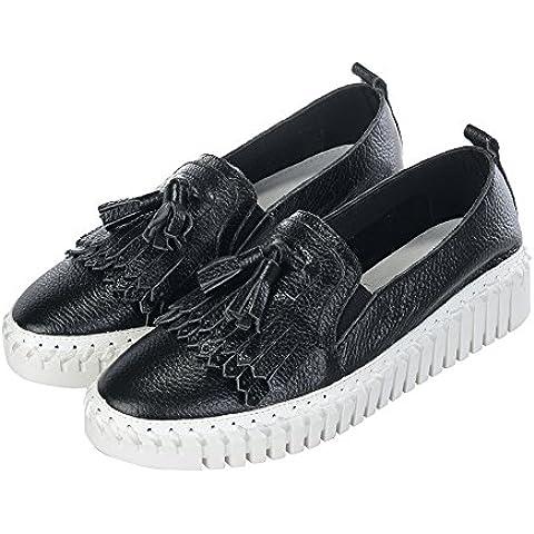 Blanco Con El Rostro Negro Con Flecos Zapatos Ocasionales Planos De Cuero - 002