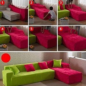 Dicke Sofaüberzüge, 1/2/3/4-Sitz-Überwurf, Sofa Schutzüberzug aus Samt. einfache Passform, Stretch-Material, Couch-/Bettüberwurf, blau, 4 Seater:235-300cm