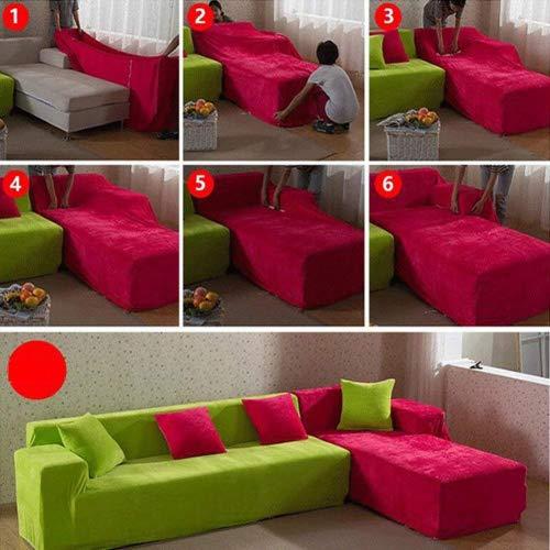 Copridivano in spesso velluto elastico, fodera protettiva da divano, aderente e facile da mettere, in tessuto elasticizzato, Light Gray, 3 Seater:195-230cm