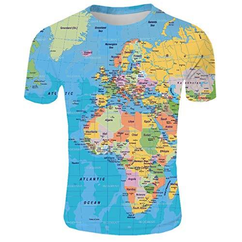 Camisetas Impresas De La ModaDivertida Camiseta Verano Hombre Del Redondo Estampado Mundo Para Con Cuello Mapa Ag Y Manga Corta amp;t 3d 8nOm0Nvw