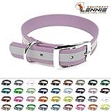 LENNIE BioThane Halsband, Dornschnalle, 25 mm breit, Größe 50-58 cm, Pastell-Lila-Reflex, Aufdruck möglich