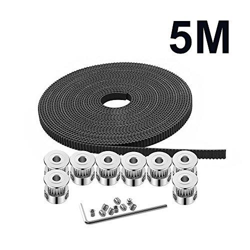 TopDirect 8 pcs GT2 Poulie de courroie 20 dents Alésage 5 mm + 5 m GT2 Courroie + 1 pcs Clé Allen pour imprimante 3d CNC pièces