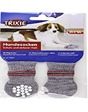 Trixie 19504 Non-Slip Grey Dog Socks, L-XL, 1 Pair
