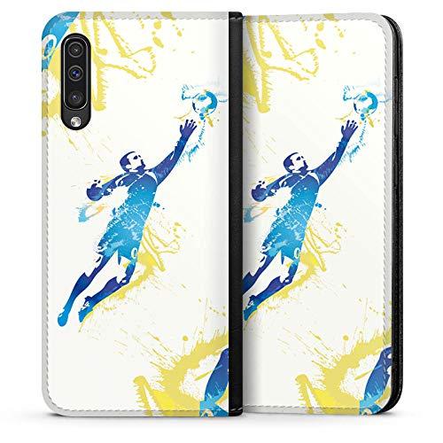 DeinDesign Leder Flip Case kompatibel mit Samsung Galaxy A50 Tasche Hülle Torhueter Football Fussball -