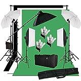 BPS Kit Estudio Fotografía Softbox Paragua Iluminación Continua y Fondo Muselina – 2850W...