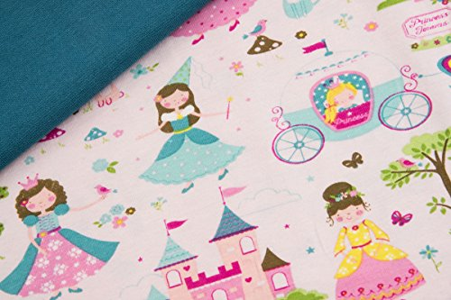 Stoffpaket Starterset Nähpaket BW-Jersey Prinzessinen auf Rosa - 60cm x140cm BW-Jersey + 20cm x 100cm Bündchen - Ökotex100 Motiv : Prinzessin und Burg