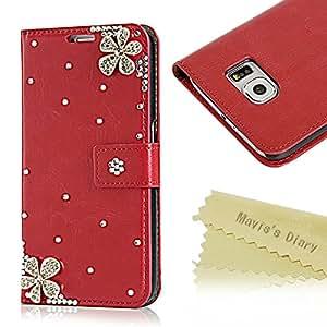 Mavis's Diary S6 Tasche Flip Case Schutzhülle für Samsung Galaxy, S6 -Leather Schutzhülle für Samsung Galaxy, S6 (gerade), aus PU-Leder, mit Strass-Diamanten, Klappetui mit Schnalle und Holster Schutzhülle Bumper blau Samsung Galaxy S6 Magnificent Diagonal Blume, Rot