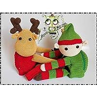 Mochila DUENDE/RENO NAVIDAD PERSONALIZABLE (Bebé, crochet, ganchillo, muñeco, peluche