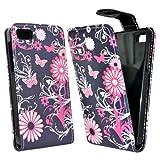 Accessory Master Schmetterling Blumen Design Elegante Ledertasche für BlackBerry Z10 rosa