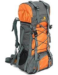 Mochila, 60L, unisex, multifuncional, senderismo, impermeable, resistente al agua, mochila de viaje, camping, ciclismo, deportes, naranja