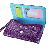 Di alta qualità a portafoglio in pelle custodia per Huawei Ascend G730-con porta carte di credito e tracolla rimovibile-coccodrillo/coccodrillo motivo-chiusura magnetica per facile accesso-(viola Plus interno luce blu) + mini stilo touch screen