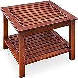Deuba Tavolino da giardino in legno di acacia massiccio e resistente al tempo per interno esterno 45x45x45cm terrazzo balcone