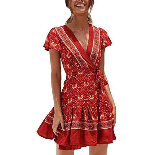 Lucky Mall Damen Böhmisches Blumendruck Minikleid mit Sexy V-Ausschnitt, Sommer Kleid Mode Kurzarm Strandkleid Freizeitkleidung Verband Kleid Party Rock Abendkleid (Kinder-billig Für Assassin Creed-kostüm)