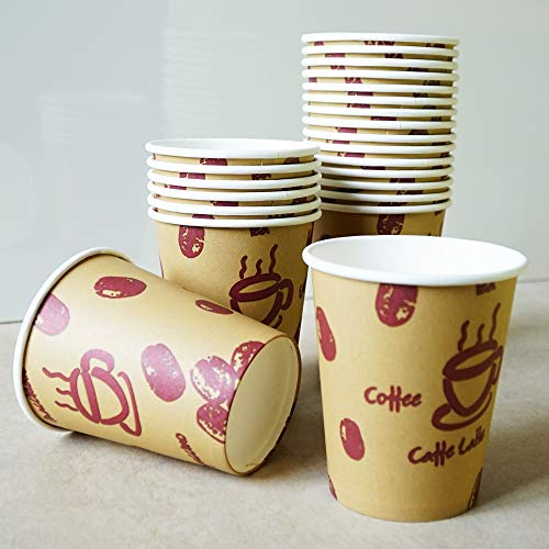 400 unidades. Coffe to go - Vasos de café reciclables con capa de cartón, resistentes al calor, 400 unidades, 200 ml, diseño de granos de café, color marrón. Fabricado con material 100% reciclable.