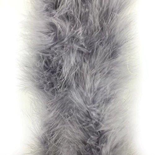 lauschige Federboa mit 182,9 cm Länge von Celine Lin mit Truthahn-/Marabu-Federn für Party, als Kostüm, als Schal, zur Hochzeit, als Raumdekoration. grau (Kostüm-verzierungen)