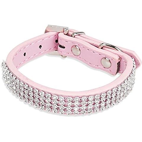 FEESHOW Diamante De Malla Fina Collar De Perro Collar Del Animal Doméstico Perros y Cachorros Pequeño Collar