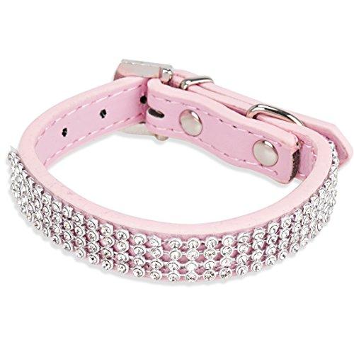 Freebily Collar de Seguridad Ajustable para Mascota Perro Cachorro con Diamantes Artificiales Rosa talla única