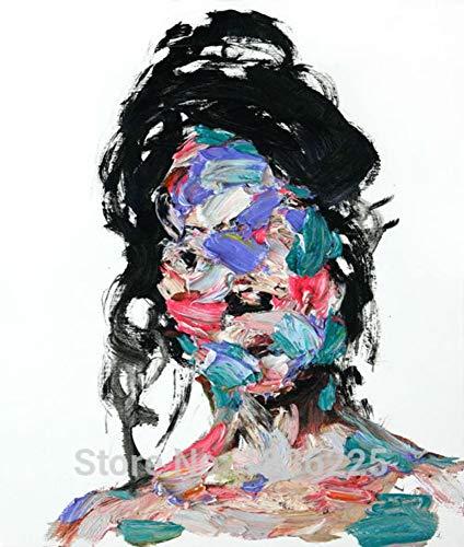 Ölgemälde Auf Leinwand Handgemalt,Abstrakte Bild Malen,Bunte Zombie Gesicht Mit Schwarzen Haaren,Größe Der Modernen Europäischen Kunst Wand Dekoration Für Eingang Wohnzimmer Erwachsene Geschenke (Zombie Gesicht Malen)
