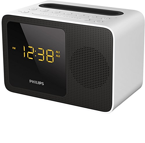 Philips ajt5300w/12 radiosveglia (led,streaming musica wireless, bluetooth, stazione di ricarica universale con porta usb, bluetooth), nero/bianco