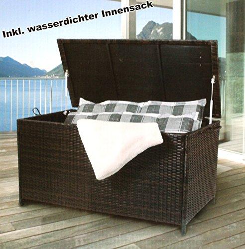Premium Auflagenbox Polyrattan 270 L | 117 x 52 x 60 cm | Kissenbox Gartentruhe Geflecht...